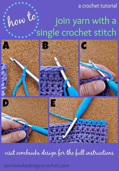 How To Join with a Single Crochet Stitch I like to use this technique to join new yarn for amigurumi and any other project I am working in single crochet. How To Join New Yarn with a Single Crochet Stitch Step A: Place a slipknot on your . Stitch Crochet, Crochet 101, Single Crochet Stitch, Crochet Basics, Filet Crochet, Learn To Crochet, Crochet Crafts, Crochet Yarn, Crochet Hooks