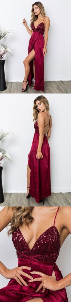 Red Prom Dresses, Long Prom Dresses, Sexy Prom Dresses, 2018 Prom Dresses For Teens, Sheath/Column Prom Dresses V-neck, Sequined Prom Dresses Silk-like Satin, Ankle-length Prom Dresses Split Front #promdresses