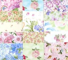 Quilt Patterns With Floral Fabric : Details about Lecien Charm Pack Fabric Squares Floral Pastel Patchwork Quilting not Moda Jars ...