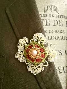 Gold Crochet Tatted Brooch with Freshwater PearlVintage by sukran, $34.90
