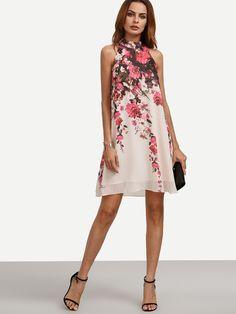 Vestido floral corte sin manga holgado-Sheinside