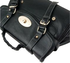 Classic Oxford Turnlock Leather Convertible Satchel Bag BIBU1239, Black, One size
