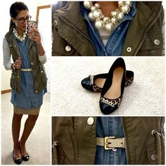 Layering: Classic sleeveless shirt dress over pencil skirt, striped tee, olive cargo vest, ivory leather belt