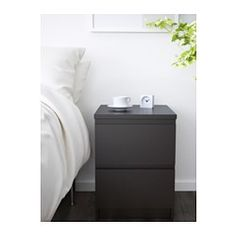 MALM Kommode mit 2 Schubladen, schwarzbraun - 40x55 cm - IKEA
