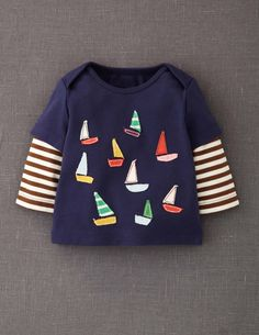 Layered Sailboat Appliqué T-shirt from Boden