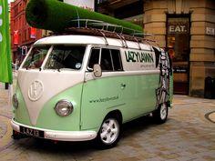 Lawn Green VW Camper Van