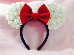 Minnie Mouse Ears (white rose) by CrazyBeautifulCreati on Etsy https://www.etsy.com/listing/196658840/minnie-mouse-ears-white-rose
