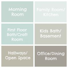 Great examples of Benjamin Moore color palette -- including Quietude, Repose Gray, and Thunder. Might be a good start for our cozy home. *