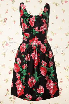 vintage floral dresses, vintag floral, dress black, style, cloth, 50s vintag, vixen