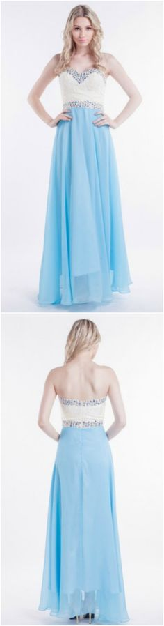 Custom made-to-order formal dress by GemGrace. Multiple colors and all sizes available. Additional photos also available upon request. Lovely Sky Blue A-Line Strapless Chiffon long Prom Dress With Beading 2016