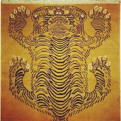 Amazing Tibetan tiger rug in the Gabbeh style- very thick and soft! Wool on cotton. 47x611.