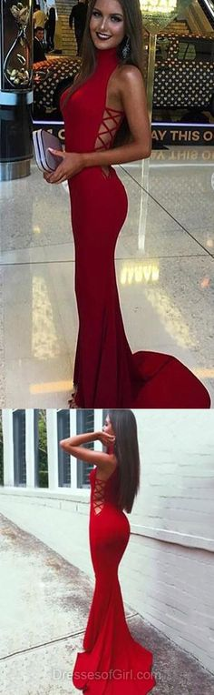 Long Prom Dress, Mermaid Prom Dresses, Red Evening Dresses, Jersey Party Dresses, High Neck Formal Dresses