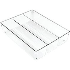 InterDesign Linus Cutlery Tray for Silverware, Extra-Wide Kitchen Accessories for Storage and Organising, Made of Durable Plastic, Clear
