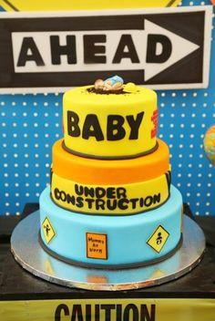 Under construction baby shower cake