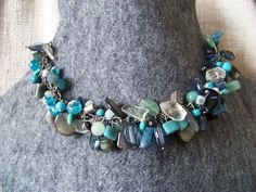 Sea necklace. Sea glass, sodalite, mother of pearl, onyx, agate, malachite, glass beads and silver.