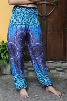 Unisex Harem Pants / Yoga pants / Hippie Pants /Boho Pants Peacock Design in Blue  Sizing One size fits most but best for sizes 8-14 Size :