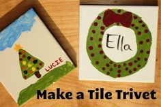 DIY on a Dime: Hand Painted Tile Trivets - Life As Mom Make a Tile Trivet… Such a great homemade gift for kids to do! Perfect for Christmas gifts. Preschool Christmas, Christmas Crafts For Kids, Kids Christmas, Holiday Crafts, Merry Christmas, Xmas, Christmas Gifts For Wife, Homemade Christmas Gifts, Homemade Gifts
