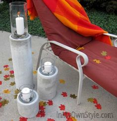 How to Make a Restoration Hardware Concrete Fire Column - elevated dog bowl idea Concrete Crafts, Concrete Projects, Concrete Planters, Concrete Garden, Outdoor Projects, Concrete Dye, Outdoor Crafts, Diy Projects, Outdoor Table Tops