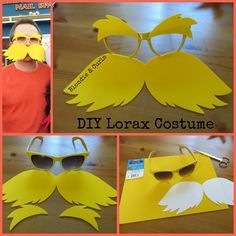 Quick and easy tutorial on making Lorax sunglasses from Dr. Seuss.