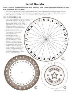 for the escape room Printable Secret Decoder Wheel Escape Room Diy, Escape Room For Kids, Escape Room Puzzles, Escape Room Themes, Geocaching, Geheimagenten Party, Party Games, Escape The Classroom, Detective Party