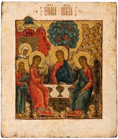 Russian Icon, Trinity, 18th century