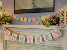 Easter Decorations He is RISEN Easter Banner Holiday Garland Easter Sign Religious Decor Pastel Easter Banner Photo Prop. $19.00, via Etsy.