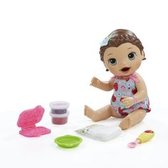 Baby Alive Interactive Talking Baby Doll Super Snacks Lily Brunette Baby Dolls Baby Alive Food Baby Girl Toys