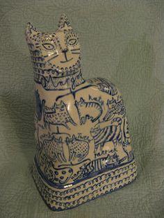 Ceramic cat figurine by Vicky Lindo artist, designer and maker
