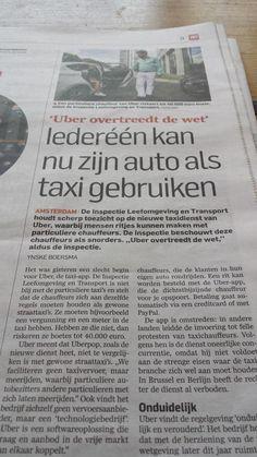 Veel ophef rond de app uber. Algemeendagblad 31 juli 2014.