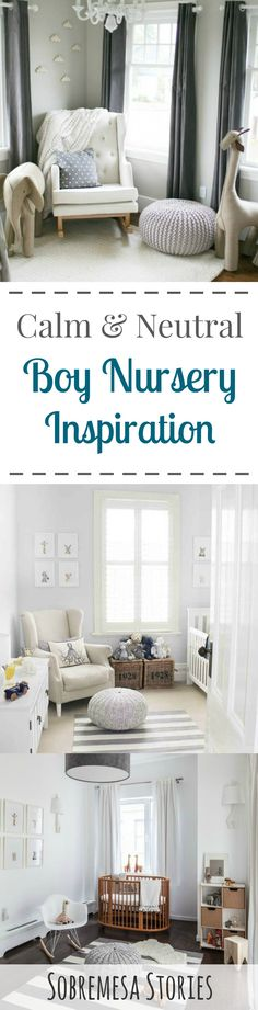 Gorgeous neutral gray boy nursery ideas - perfect if you're expecting a little man but want a crisp and calm nursery space!
