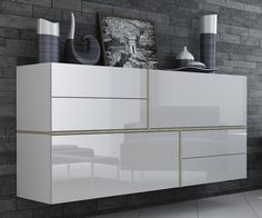 NaSmaak - Gayo Zwevend Design Dressoir Hoogglans Wit