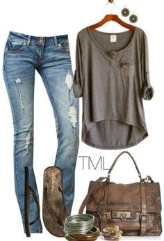 A great casual look that would actually make me want to wear the distressed jeans. Usually not a fan of jeans like this, but I love this whole outfit.