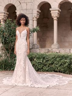 Fancy a gown made for photo ops? All-around shimmer and illusion makes this sparkly lace sheath bridal dress a stunner from any angle. Lace Wedding Dress, Maggie Sottero Wedding Dresses, Fit And Flare Wedding Dress, Bridal Dresses, Wedding Gowns, Wedding Attire, Halle, Bridal Closet, Blush Gown