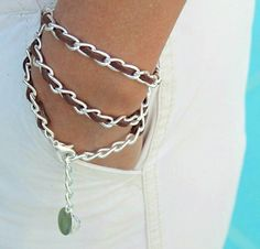 Boho Woven SILVER Chain Triple Wrap Bracelet / Necklace - BROWN Faux Suede Cord - 11X6mm Chain - Dangle Charms - Any Size - Made in USA via Etsy
