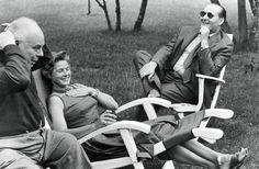 ROBERTO ROSSELINI, INGRID BERGMAN ET JEAN RENOIR, 1955