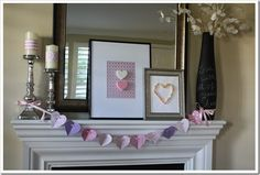 Sweetheart Valentine Mantel {for under $5} - A Thoughtful Place