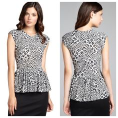 Rebecca Leopard print stretch jersey peplum top This Rebecca Taylor Grey / White and black Lightweight leopard print is absolutely gorgeous :stretch jersey knit Crewneck Sleeveless Elasticized, peplum waist Contemporary fit 95% Polyester / 5% Spandex; never worn new without tags this have the look to charm every fashionista.. So don't miss out!!! Rebecca Taylor Tops Tees - Short Sleeve