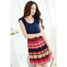 $8.25 Color Block Stripes Ruffled Sleeveless Dress For Women