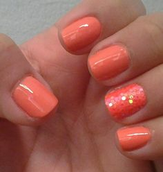 Summer Coral nails with accent