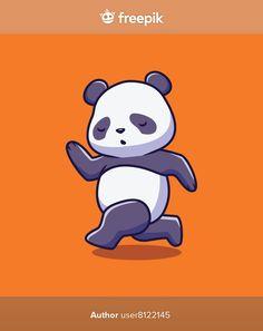 Cute panda running cartoon illustration | Premium Vector #Freepik #vector