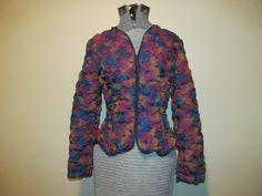 Vtg Ladies Sm Jacket Custom Made Runched Silk by ThenForNow, $39.99
