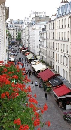 Rue Cler View.. Paris, France. Randy and I stayed in a hotel on this street in 2002! I remember the view!!