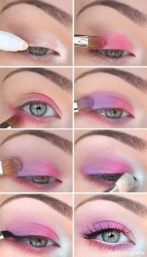 Lila und rosa Augen-Make-up Makeup - makeup products - makeup tutorial - makeup tips - Source makeup Pink Eye Makeup, Cute Makeup, Pretty Makeup, Eyeshadow Makeup, Makeup Art, Bright Makeup, Pink Eyeshadow, Highlighter Makeup, Pink Eyeliner