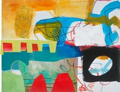 """Jane Davies Studios - Train Wreck #6; 19.5""""x25.5"""", acrylic, collage, drawing on paper."""