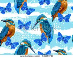 Seamless hand drawn pattern with blue birds and butterflies. Romantic texture. Vector summer background. Perfect for wallpapers, pattern fills, web page backgrounds, surface textures, textile