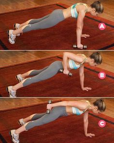 Start in a plank position, holding a five-pound dumbbell in your right hand (A). Leading with your elbow, lift the dumbbell up to your side (B), then extend your arm out straight behind you (C). Reverse the movement to return to the starting position. That's one rep.