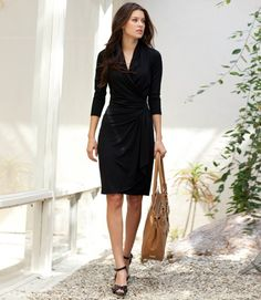 Karen Kane Black Cascade Wrap Dress