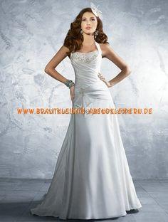 Elegante schlichte Brautmode A-Linie aus Satin mit Applikation online kaufen 2013