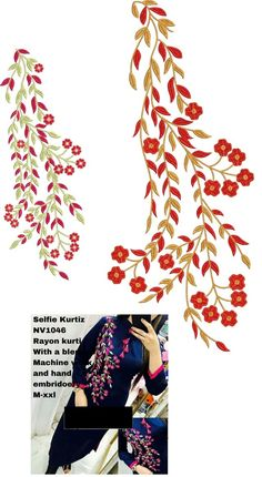 Latest All over Garment Embroidery Designs Download Embroidery Design From EMBCART Mobile application Embroidery On Kurtis, Kurti Embroidery Design, Flower Embroidery Designs, Machine Embroidery Designs, Embroidery Patterns, Hand Embroidery, Textile Patterns, New Kurti, Fancy Kurti