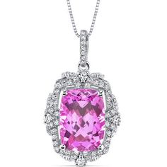 Women's Sterling Silver Vintage Cushion Pink Sapphire Pendant Necklace
